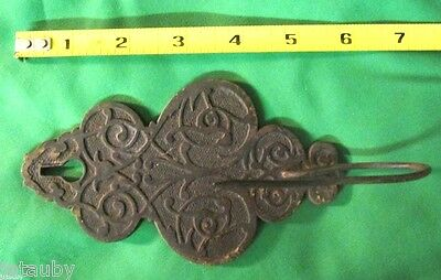 Antique Vintage Metal Ornate Victorian Bill Receipt Letter Paper Spike Wall Hook