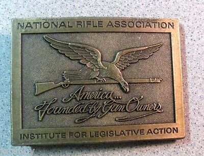Vintage NRA NATIONAL RIFLE ASSOCIATION BELT BUCKLE AMERICA FOUNDED BY GUN OWNERS