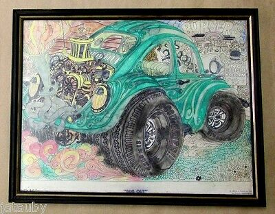 """Vintage 1974 HAND COLORED VB """" BUG OUT """" POSTER ADVERTISEMENT AD Doodle Art"""