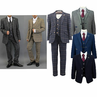 Boys Wool Mix Suits Creon Previs 3 Piece Tweed Checked Blazer Waistcoat Trouser