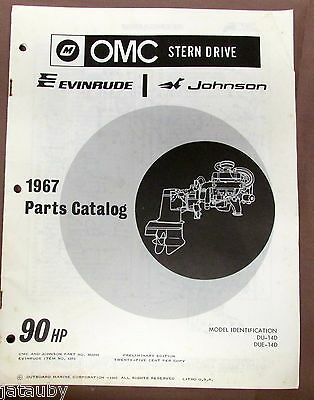 Vintage 1967 CATALOG OMC EVINRUDE JOHNSON 90 HP outboard motor engine boat parts