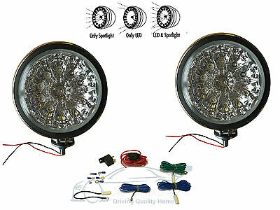 """2 x 6"""" CLEAR / CRYSTAL LED + HALOGEN SPOTLAMPS (TWIN SPOT LAMP)  With Wiring Kit"""