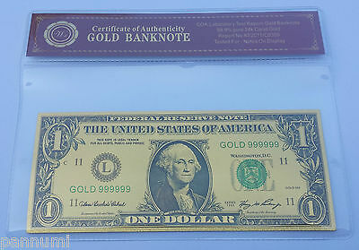 Colourised $1 USD 24K Gold Plated Banknote With *COA* (n51c)