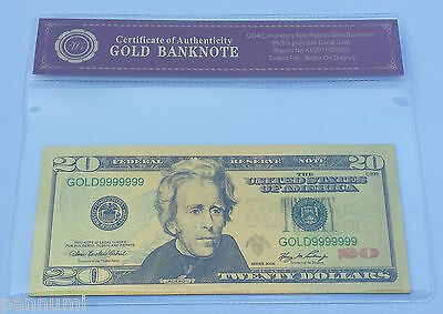 Colourised $20 USD 24K Gold Plated Banknote With *COA* (n55c)