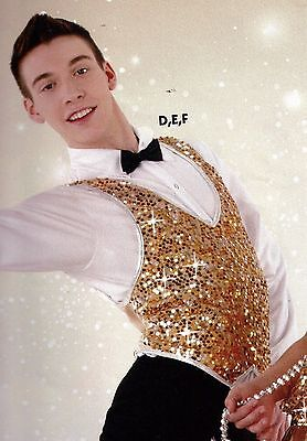 NWT Gold Silver pullover Dance Costume Sequin Vest Spandex front/back boys/mens