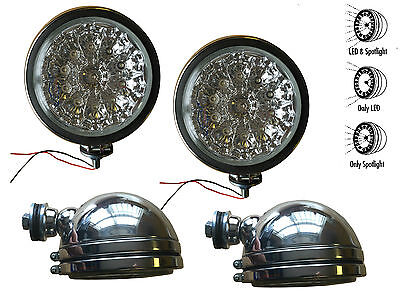 "4 x 6"" CLEAR / CRYSTAL LED + HALOGEN. QUAD SPOT LAMPS KIT for 4x4 Roll/Bull Bar"