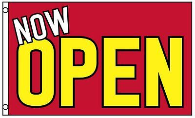 NOW OPEN Flag Red Yellow Business Banner 3x5 Foot Advertising Grand Opening Sign
