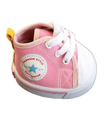 """Pink Canvas Tennis Trainers Teddy Shoes to fit 15"""" (40cm) build a bear plush ted"""