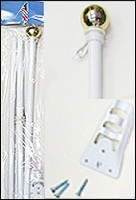 White Steel Flag Pole with Ball Top 6 Foot Wall Mount 6 Feet FT New Kit
