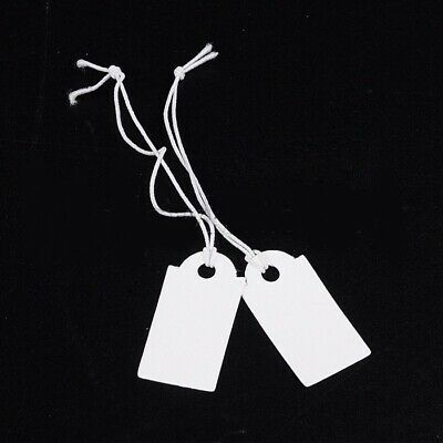 """200 PLAIN WHITE Blank JEWELRY TAGS Sturdy Paper 1/"""" String  Price Inventory tag"""
