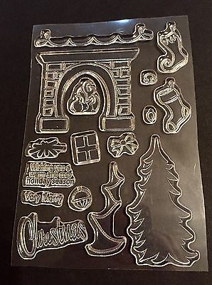 Clear Acrylic Cling Rubber Stamp Set NEW Christmas Fireplace Stockings Tree Xmas