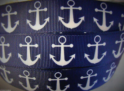 "2 or 5 yds NAUTICAL ANCHOR navy white Grosgrain Ribbon 7/8"" 22mm Clip Cake Craft"