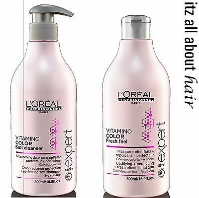 Loreal Vitamino Color A. OX Soft Cleanser Shampoo & Fresh Feel Masque 500ml Duo