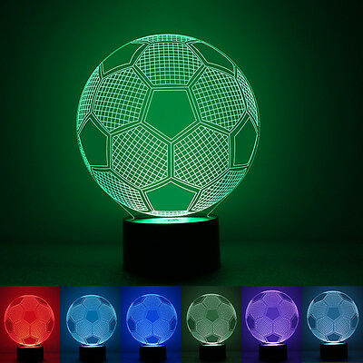 Colorful Light Changing 3D LED Night Lamp Decoration Soccer Shaped Xmas Gift