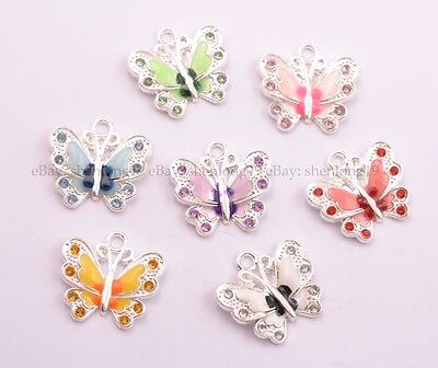 5/10Pcs Multicoloured Enamel Animal Butterfly Pendant Charms For Necklace 21.5MM
