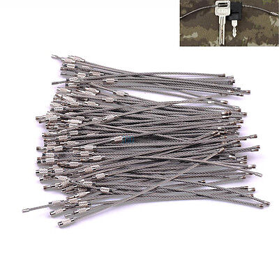 "100PCS 6"" Stainless Steel Wire Cable Key Ring Chain Twist Screw Locking EDC Bulk"