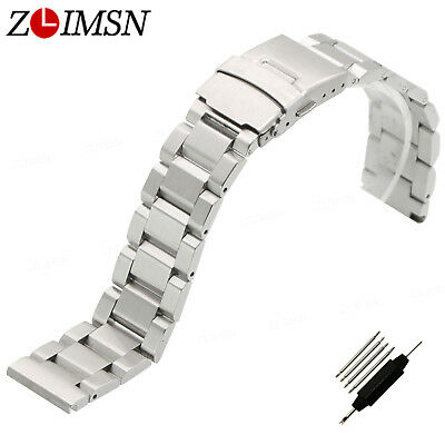 Solid Stainless Steel Watch Band Strap Buckle Silver Bracelet 18 20mm 22mm 24mm