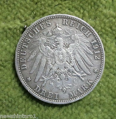 #D272. 1912  Prussia  Silver  3 Mark Coin