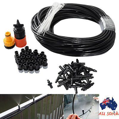 25m Misting Cooling System Garden Plants Irrigation Patio 25 Micro Sprinkler Kit