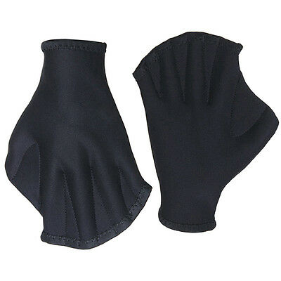 Black 1 Pair Swimming Finger Webbed Gloves Hand Webbed Training Paddles Palm ZX