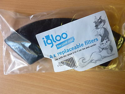3 PACKS ( of 4) IGLOO REPLACEMENT FILTERS,  for Igloo 2 in 1 cat loo and carrier