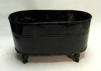 Oval tin patio planter plant pot stand holder with cast iron feet