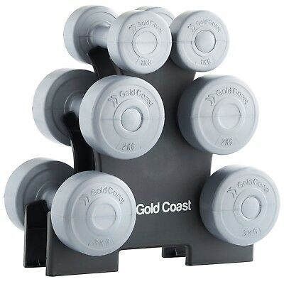 Gold Coast 12kg Vinyl Dumbbell Free Weights Set Weight Training Gym Fitness