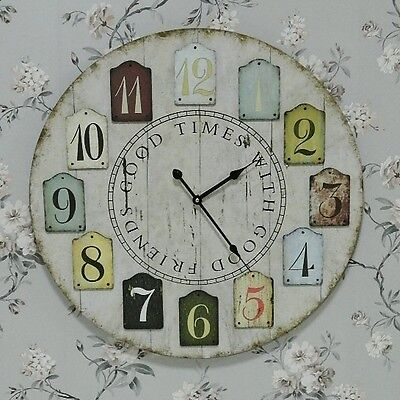 Large Wooden Shabby Chic Round Wall Clock  Accessories Home Gift Vintage Style
