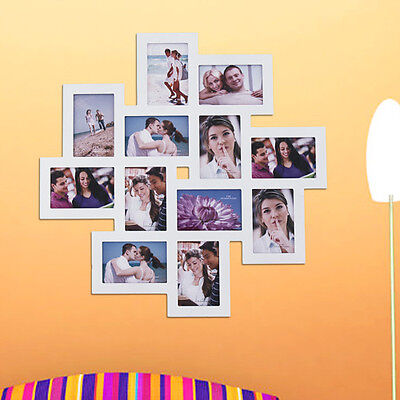 Adeco Trading 12 Opening Wood Photo Collage Wall Hanging Picture Frame