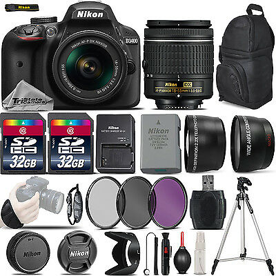 Nikon D3400 Digital SLR Camera +3 Lens 18-55mm VR + 64GB -Great Saving Full Kit