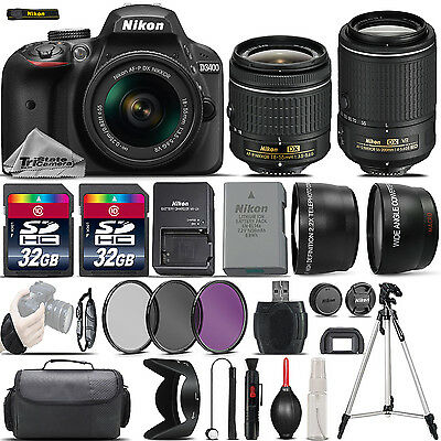 Nikon D3400 Digital SLR Camera + 18-55mm VR + 55-200mm VR II + 64GB - 4 Lens Kit