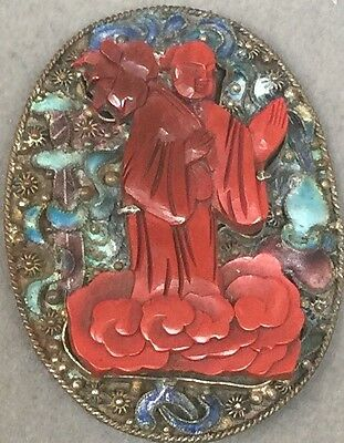 Antique Chinese Carved Red Cinnabar Figurative Enamel Pin