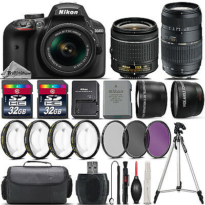 Nikon D3400 DSLR Camera with 18-55mm VR Lens + 70-300 Lens + 64GB Bundle Kit