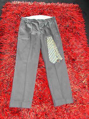 Mens Vintage 50S Trousers  36 Buttons Pleats  Gc Swing Turnups Rockabilly