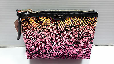 Victoria's Secret Tropical Embroidery Floral Pink Yellow makeup cosmetic bag
