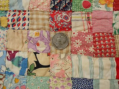 "PERFECT 1"" SQUARES Vintage Antique 1930s FEED SACK POSTAGE STAMP Quilt 79X66"