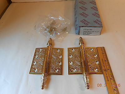 2 Period Brass Door Hinges Eastlake Victorian 3 1/2 Inch Nos Reproduction