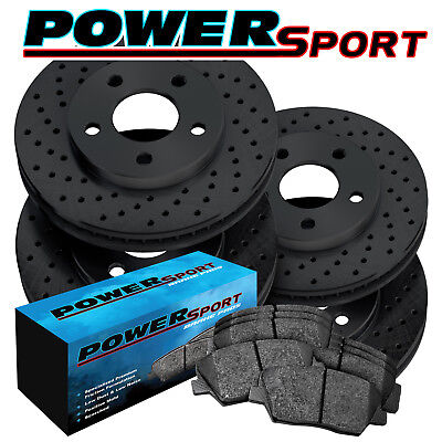 Black Hart *DRILLED /& SLOTTED* Disc Brake Rotors FRONT KIT Ceramic Pads F2532