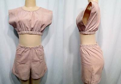 Vintage 60s Two 2 Piece Matching Shorts Crop Top Elastic Pull On Pullover Set