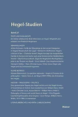 Hegel-studien / Hegel-studien Band 27 (1992) by Friedhelm Nicolin (German) Paper