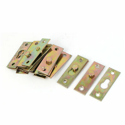 Furniture Bed Rail Hook Plate Bracket Connector Brass Tone 10pcs