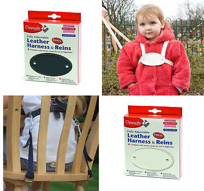 CLIPPASAFE Leather Harness with reins & anchor straps Toddler Safety Child Walk