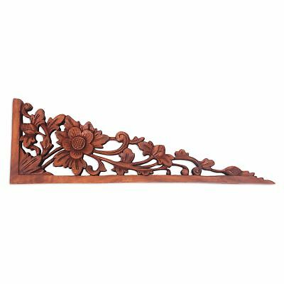 Lotus Tendrils Balinese Hand Carved Lotus Blossom Wood Relief Panel Wall Décor