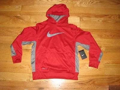 NEW NIKE THERMA-FIT Boys Red Grey Sweatshirt Hoodie KO 3.0 Size 8 S Small Youth