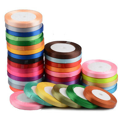 25 Yards Satin Ribbon Craft Birthday Party Wedding Sewing Decoration 6mm to 50mm