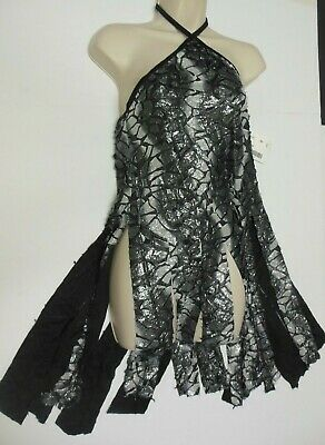 NWT Praisewear Black Silver Burnout Halter Tunic w/ flyers ch/ladies sizes