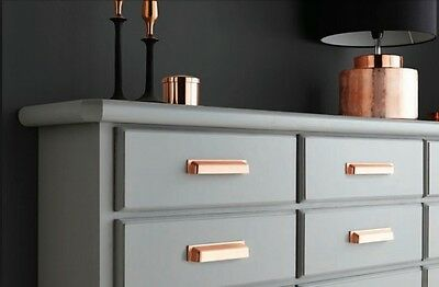 Brushed Copper Pearl Finger Pulls Cup Handles Kitchen Cabinets Drawers