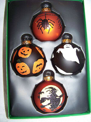 SET OF 4 GLASS HALLOWEEN 65mm BALL ORNAMENTS BY KURT S. ADLER