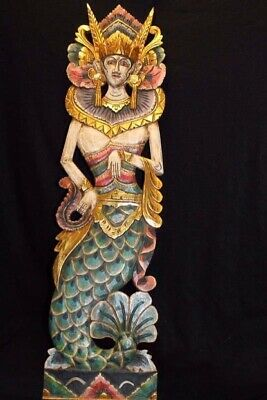 Balinese Mermaid Nyi Kidul wall art Panel carved wood Bali architectural right
