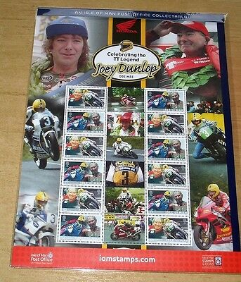 NEW JOEY DUNLOP ISLE OF MAN TT RACES COMMEMORATIVE STAMP SHEET FREE P&P IoM MANX